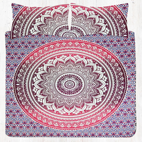 Red & Maroon Mandala Bedding Set with Pillow Cases
