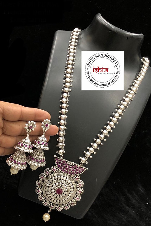 German Silver Long Set with Step By Step Jhumkas - Pink