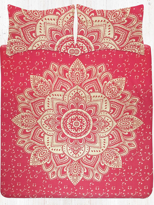 Red Gold Floral Mandala Bedding Bed Sheet Set With Two Matching Pillow Covers