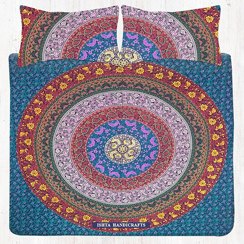 Multicolour Mandala Bedding Set with Pillow Cases