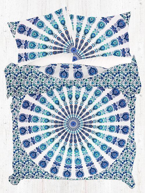 King Size Blue Green Peacock Mandala Duvet Quilt Cover Set