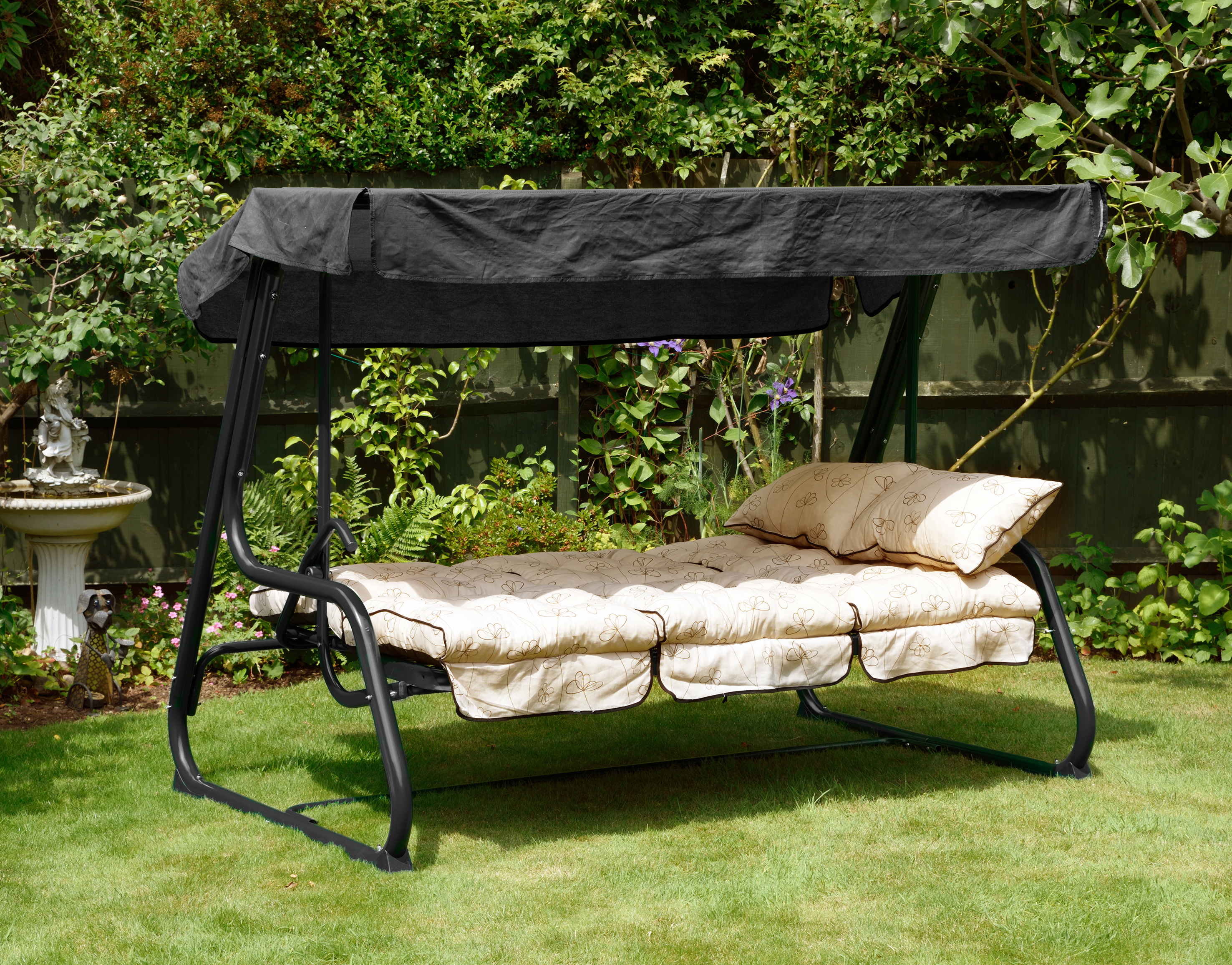 GL1119 NANCY NOIR PENDULUM HAMMOCK BED POSITION