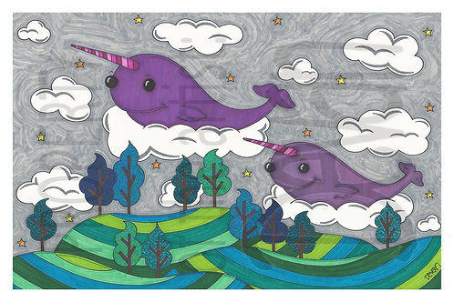 Narwhals in the Sky 17x11