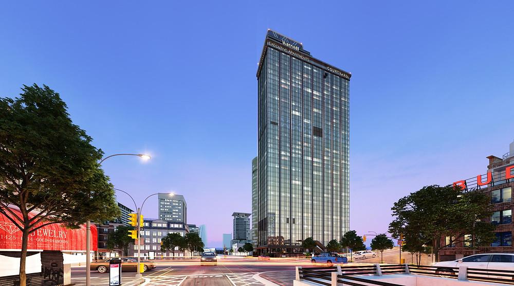 Thang máy FUJIALPHA được lựa chọn sử dụng tại công trình biểu tượng mới của thành phố Đà Nẵng – Khách sạn Courtyard by Marriott và Marriott executive Apartment Đà Nẵng với số lượng 14 thang, tốc độ lên đến 7m/s
