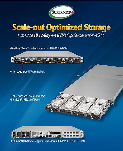 Supermicro NCS Scale-out Storage Server 6019P-ACR12L