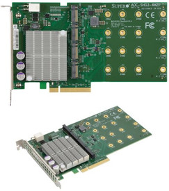 NCS Supermicro AOC-SHG3-4M2P M.2 NVMe to PCIe adapter for 4x NVMe SSDs 8x faster than standard NVMe Supports Intel VROC