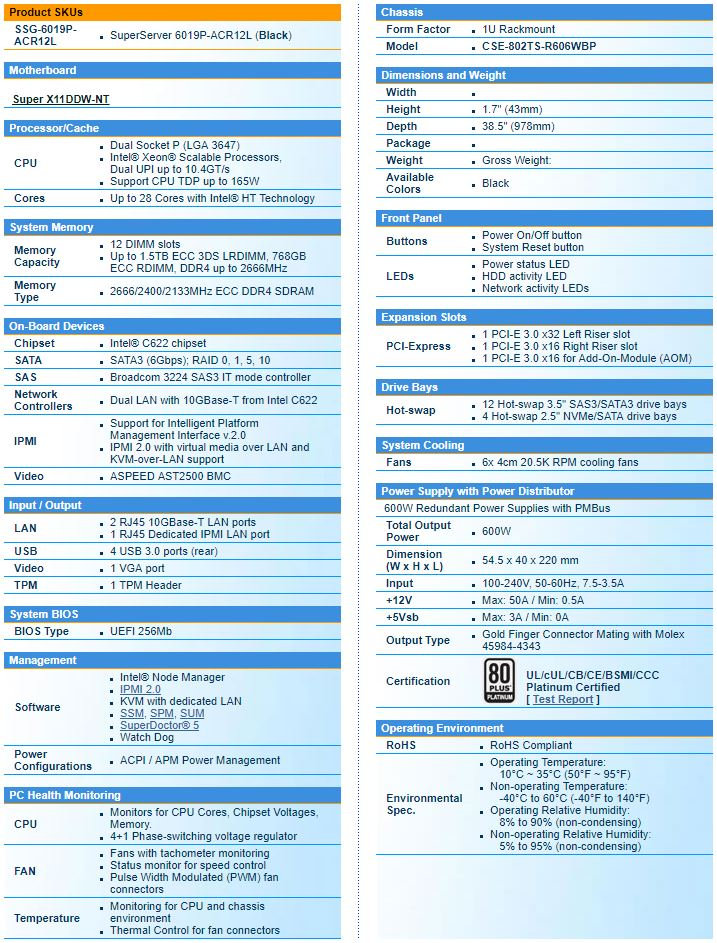 Specifications of NCS Supermicro 6019P-ACR12L