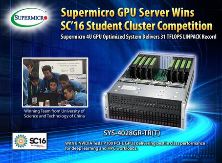 Supermicro GPU Server Wins Student Cluster Competition