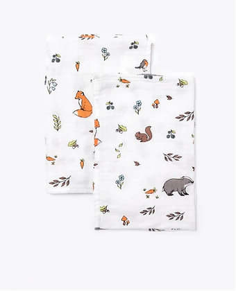 Organic Cotton Muslin Square Cloths - Into The Woods