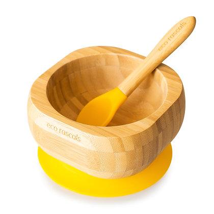 Bamboo Bowl & Spoon Set - Yellow