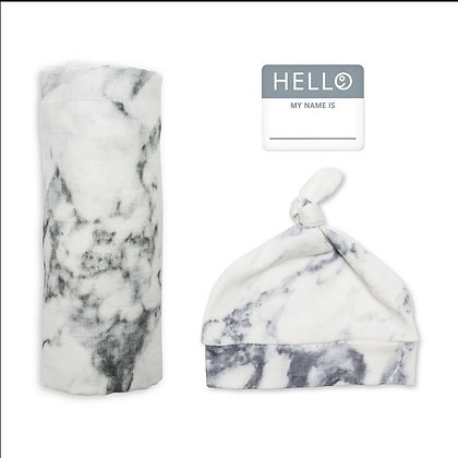 Bamboo Hat & Swaddle Blanket - Marble