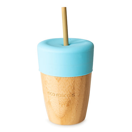 Bamboo Cup & Straw - Blue