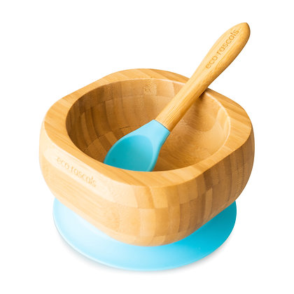 Bamboo Bowl Spoon Set - Blue