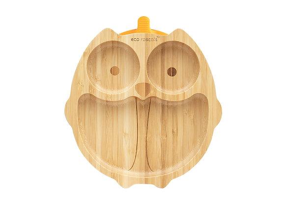 Bamboo Owl Plate - Orange