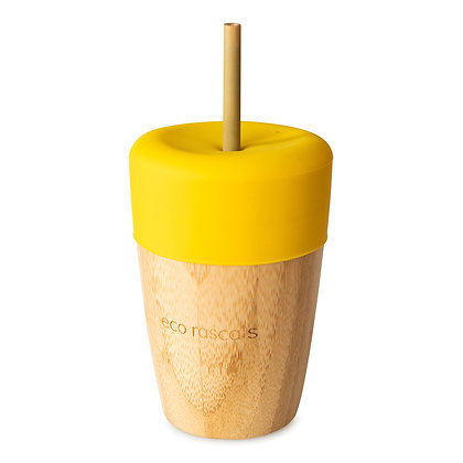 Bamboo Cup & Straw - Yellow