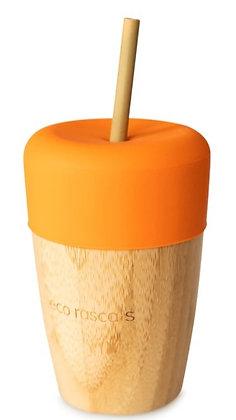 Bamboo Cup & Straw - Orange
