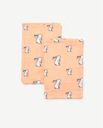 Organic Cotton Muslin Square Cloths - Long Ear Bunny