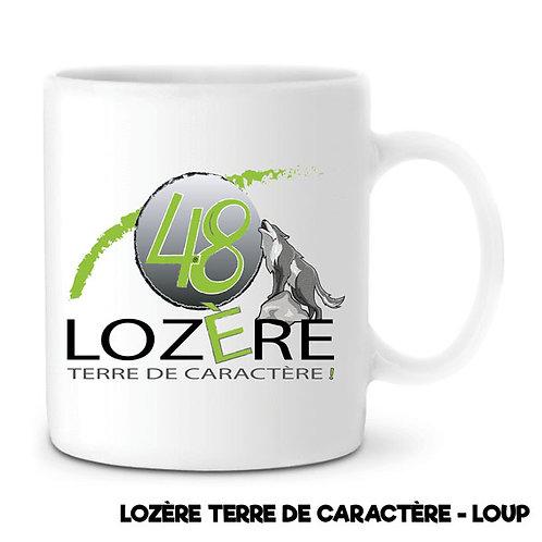 MUG EN CÉRAMIQUE BLANC - LOZERE 48 - LOUP