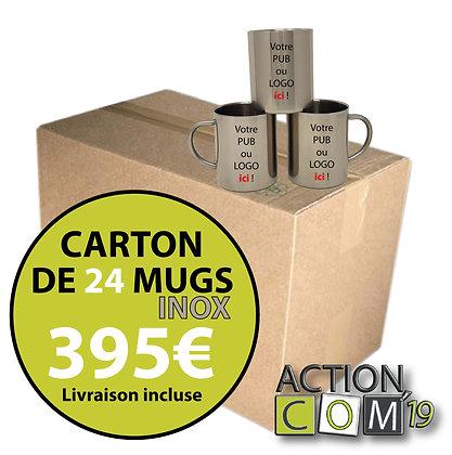 CARTON DE 24 MUGS EN INOX - 325 ml