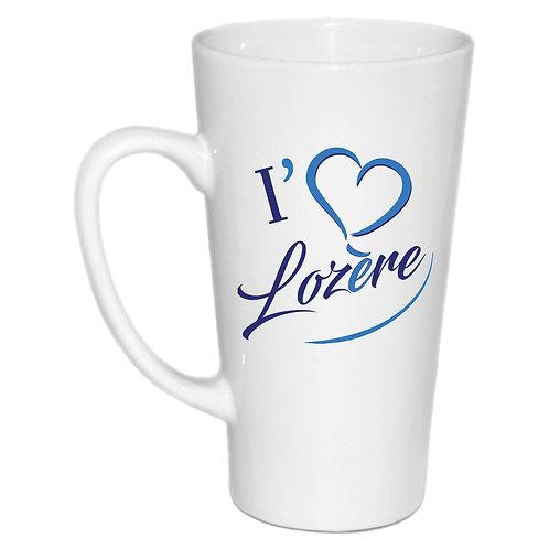 MUG CONIQUE EN CERAMIQUE - I LOVE LOZERE - BLEU CHARPAL