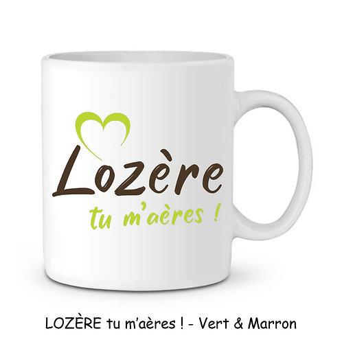 MUG EN CÉRAMIQUE BLANC - LOZERE TU M'AERES - VERT & MARRON