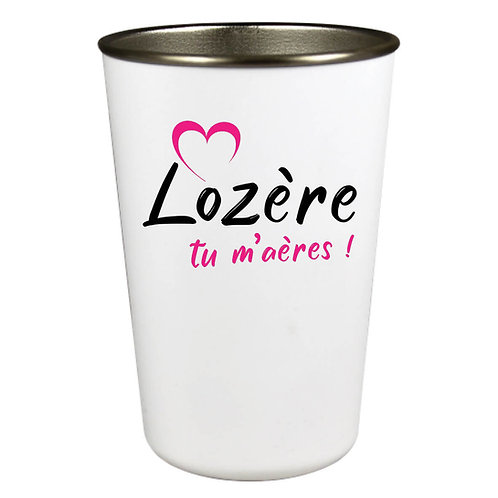 GOBELET INOX - LOZERE TU M'AERES - ROSE
