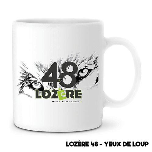 MUG EN CÉRAMIQUE BLANC - LOZERE 48 - YEUX DE LOUP