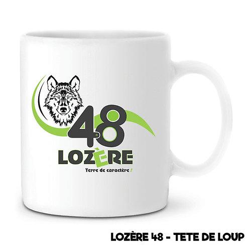 MUG EN CÉRAMIQUE BLANC - LOZERE 48 - TETE DE LOUP