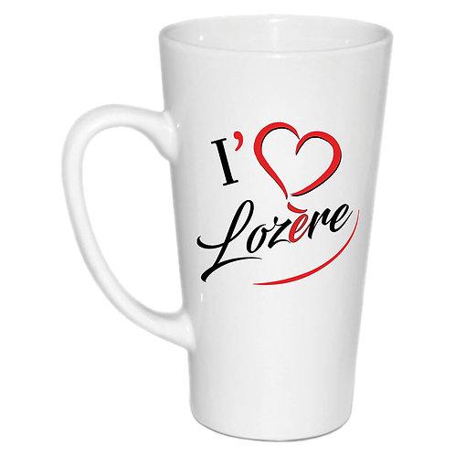 MUG CONIQUE EN CERAMIQUE - I LOVE LOZERE - ROUGE