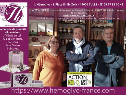 """NOUVEAU SITE INTERNET """"E-COMMERCE"""" RÉALISÉ PAR ACTION COM'19 POUR L'HEMOGLYC A TULLE EN CORREZE."""
