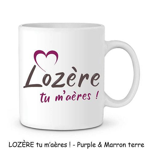 MUG EN CÉRAMIQUE BLANC - LOZERE TU M'AERES - PURPLE & MARRON TERRER