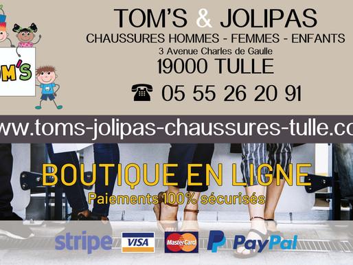 Nouveau site internet réalisé par ACTION COM 19 pour TOMS & JOLIPAS à Tulle.