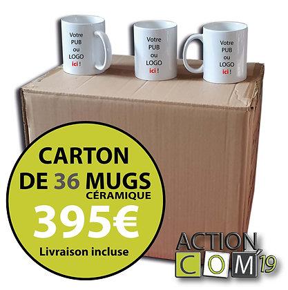 CARTON DE 36 MUGS EN CERAMIQUE