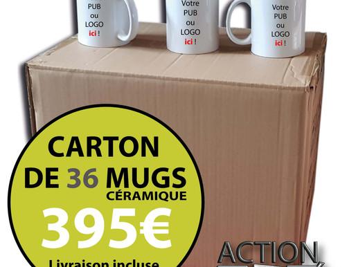 CARTON DE 36 MUGS PERSONNALISÉS - UNE IDÉE CADEAU SYMPA POUR VOS CLIENTS !