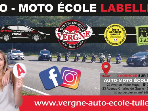 Nouveau site internet réalisé par ACTION COM'19 pour l'AUTO MOTO ECOLE VERGNE à Tulle.