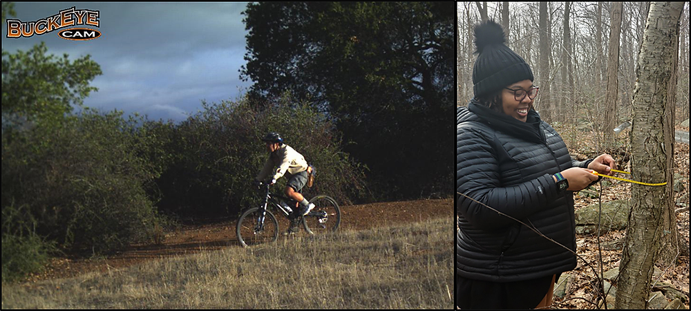 Figure 3. Benjamin Bravo as a Jasper Ridge bike ranger back in 2014 and Angie Patterson performing ecological research methods at Black Rock Forest.