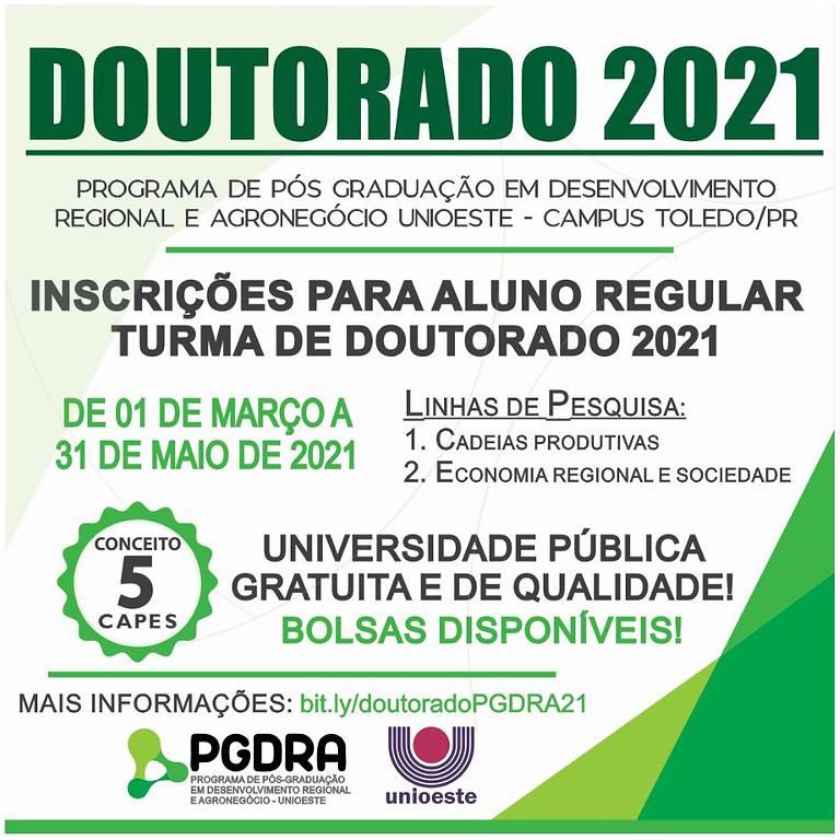 Inscrição para aluno regular  doutorado em Programa de Pós-graduação em Desenvolvimento Regional e Agronegócio  - PGDRA