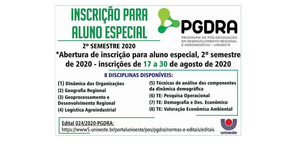 Inscrição para alunos especiais do PGDRA