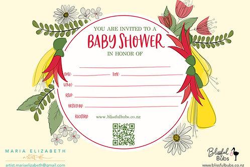 NZ Yellow Baby Shower Invitations - 10 pack