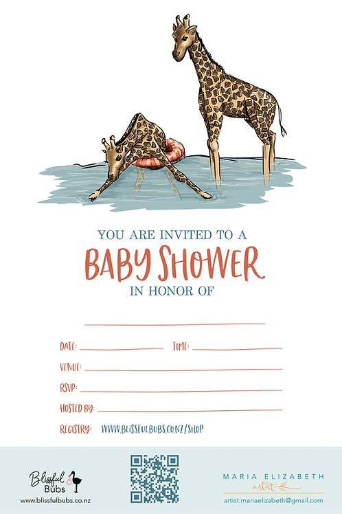Giraffe Baby Shower Invitations - 10 pack