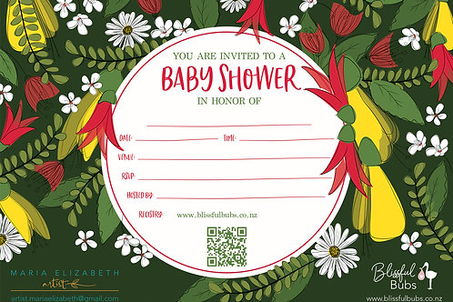 NZ Green Baby Shower Invitations - 10 pack