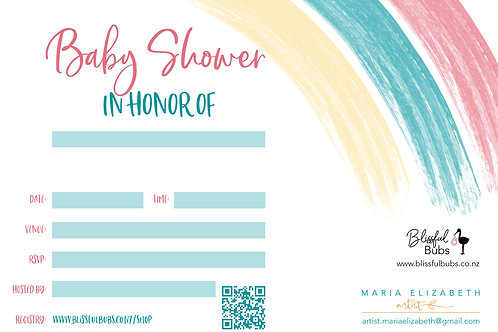 Rainbow Baby Shower Invitation - 10 pack