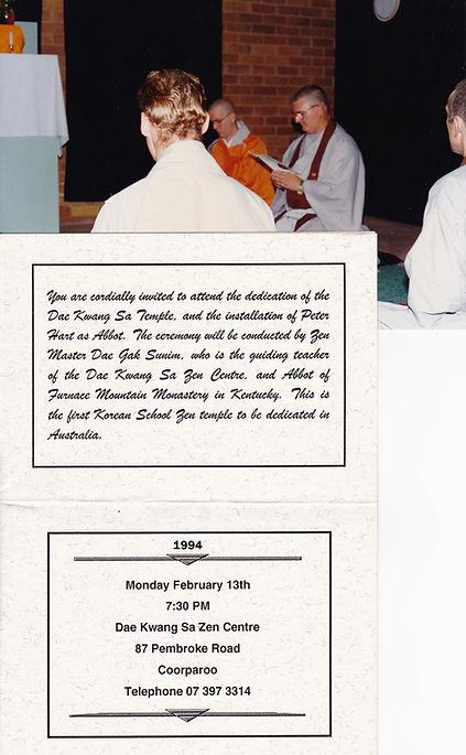 installation of Peter Hart as Abbot at Dae Kwang Sa Zen Centre
