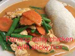 Panang Curry Chicken with Sticky Rice