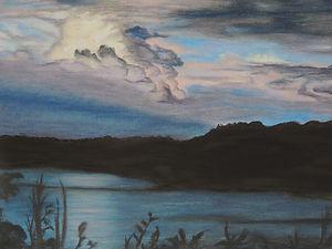 See bei Nacht Pastellkreide