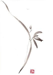 sumi-e orchidee Japantusche