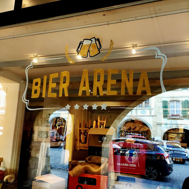 Bier Arena Murten Logo on front window
