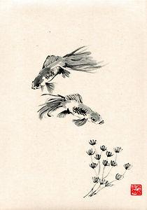 sumi-e Fische Japantusche