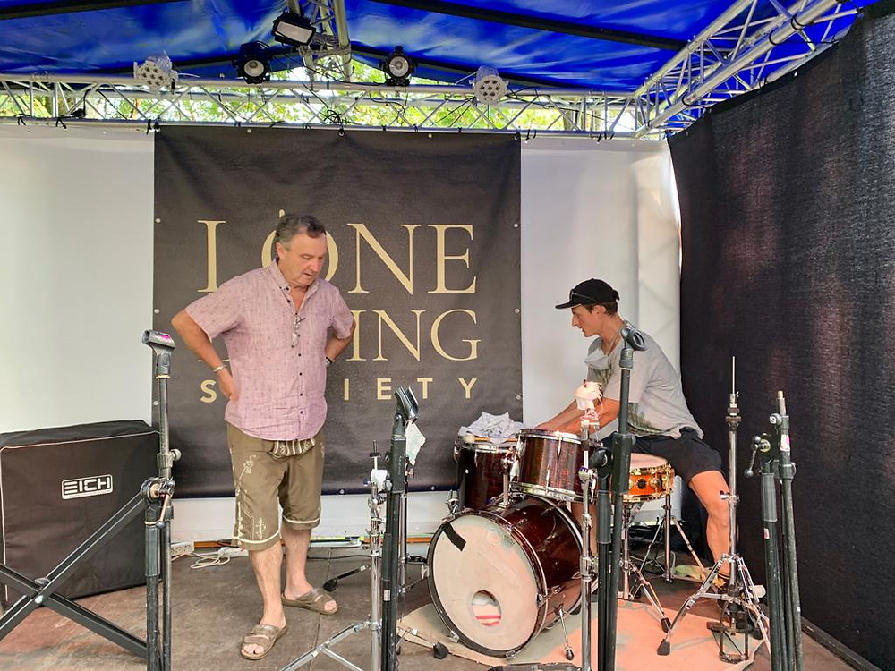 Ludwig Url, Johannes Url, drums, the Lone Dining Society on small stage