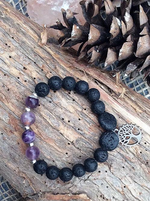 Amethyst Tree of Life Diffuser Bracelet